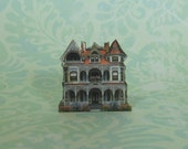Dollhouse Miniature Victorian House Stand Up with White & Orange