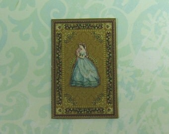 Dollhouse Miniature Elegant Paper Doll Wall Plaque with Teal