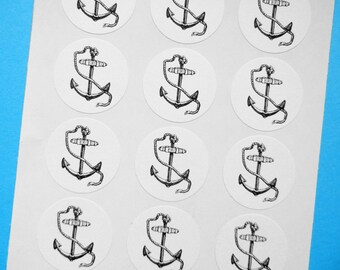 "Anchor Stickers - 1"" One Inch Round Sticker Envelope Seals - B&W, Sheets of 15 - by Blossom Arts"