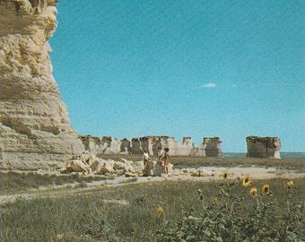 Vintage 1950s Postcard Monument Rocks Oakley Kansas Pyramids Rock Formation Geology Geography Nature Photochrome Era Postally Unused