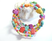 Colorful Elephant Bracelet, Fun Memory Wire, Wrap Around Bracelet, Stack Coil Bangles, Beaded Cuff, Dyed Howlite and Glass Beads