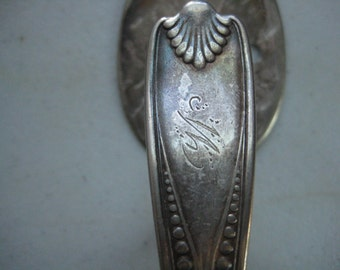 Silver plated Scalloped Spoon hook curtain tie backs kitchen  or bath towel  hanger coat hook