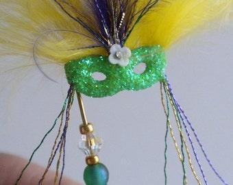 Mardi Gra Mask in Mardi Gras Colors Purple Yellow Green - Masquerade Mask Dollhouse Miniature by IGMA Artisan Diane Paone