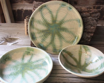 Dinner Plate set yellow matt glaze with flower design with three sizes