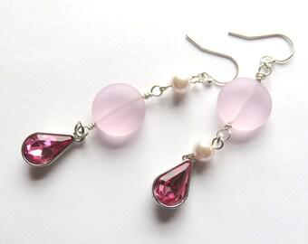 Long Pink Sea Glass Earrings, Nautical Pearl Dangle Earrings, Pink Teardrops, Matte Finish Sea Glass, Asymmetrical Glass and Pearl Earrings
