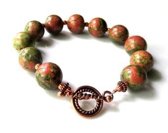 Copper Unikite Bracelet - Beaded Gemstone Bracelet - Green Unikite Boho Bracelet - Copper Toggle Clasp - Rustic Fall Bracelet - Autumn Color