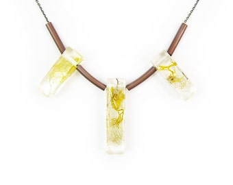 Geometric Terrarium Statement Necklace • Resin Science Jewelry • Resin Pendant • Eco Resin Specimen Jewelry • Terrarium Statement Jewelry