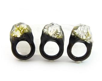 Lichen Moss Terrarium Resin Ring • Size 4.5 • Eco Resin Ring • Unusual Ring • Faceted Resin Terrarium Ring • Nature Resin Ring • 2E