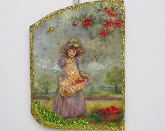 Girl Picking Apples Glittered Christmas Ornament Vintage Greeting Card Prairie Dress