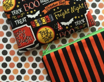 Halloween Bag Set , Stripe Coin Purse , Zipper Pouches , Cute Zipper Pouch - 2 Piece Set