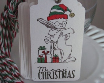 "Christmas owl ""Checking Santa's List"" tags"
