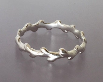 Laurel Branch Twig Stacking Ring in Recycled Sterling Silver - Wreath Branch Ring
