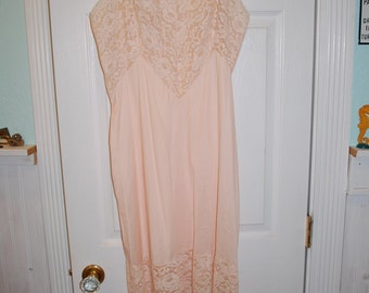 1960's Vintage Peach and Lace Satin Slip