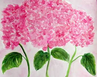 Oversize Hydrangeas Watercolor Painting Original, 18 x 20, large pink watercolors flowers, pink floral art. hydrangreas watercolor