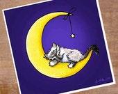Ragdoll Cat Art Print Kitten Moon Star