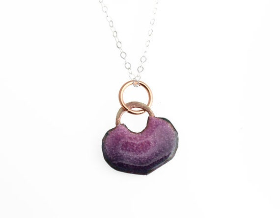 Juicy Heart - Purple Ombre Enameled Handmade Copper Heart with Sterling Silver Chain Necklace