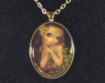 Green Goddess Cameo Necklace from Jasmine Becket-Griffith Art mother nature insects vines snake