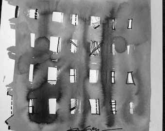 "Original Contemporary Art Black Ink Wash Painting Modern Abstract Watercolor Paper 12""x12"" Building Windows 1608 - RegiaArt"