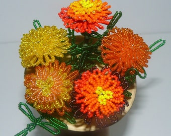 French Beaded Flowers Marigolds in Gourd Vase with Handmade Stand Holder