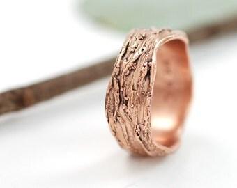 Redwoods Tree Bark Wedding Ring - 14k Rose Gold Wedding Band - medium width  - made to order wedding ring in recycled metal