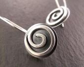 Sterling Silver Earrings, Dangle Earrings, Hanging Earrings, Disc Earrings, Round Earrings, Handmade Earrings, Spiral Earrings