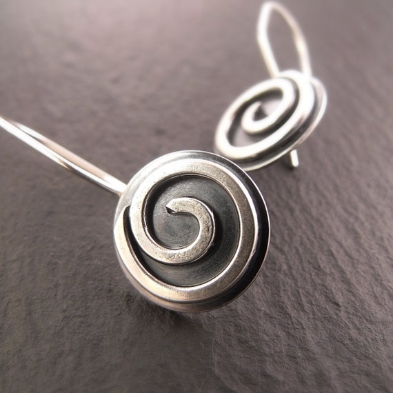 Earrings - Flat Sterling Silver Spiral Disc Earrings - Handmade in Seattle by Down to the Wire Designs