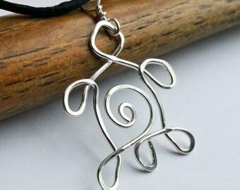 Spiral Turtle Pendant Necklace, Sterling Silver Wire Turtle Jewelry, Women, Unisex, Men, Tortoise, Spirit Animal Jewelry, Sea Turtle