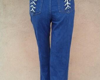 Vintage 1970s Jeans Disco Denim SOB Brand Shades of Blue W26
