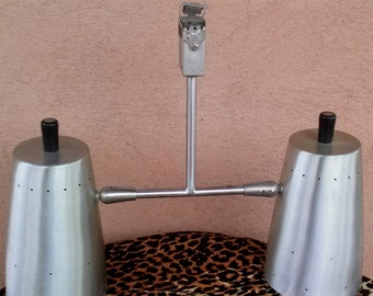 Vintage 1970s Industrial Light Track Light Silver Brushed Metal 201226