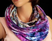 Scarf Infinity Tube Long Soft Knit Hand Dyed Reclaimed T-shirts Purple Blue Dark Pink Fuchsia Orange Green