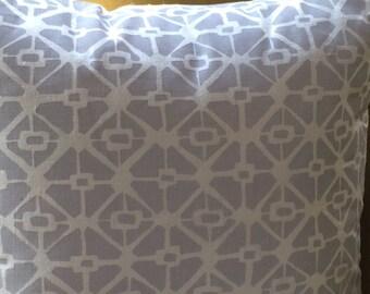 Block-printed linen throw pillow