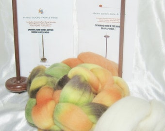 Double Drop Spindle DIY Yarn Spinning Kit, Colorway, Pumpkin Patch