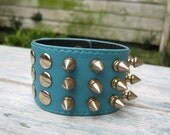 Blue Leather Cuff Spiked Punky Gold Studded Leather Cuff Leather Bracelet
