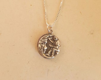 """Moon Pendant Artist Painting the moon  .999 fine silver with sterling chain 18"""""""