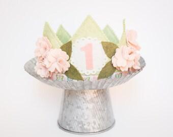 GIRL Birthday Crown// SHABBY Cherry Blossom crown //Photo Prop // Smash Cake// Flower Crown