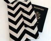 Travel or Passport Organizer Wallet Smart phone Wallet Black Chevron with Hot Pink Lining
