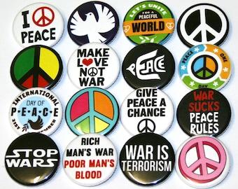 Peace Anti-War Badges Buttons Pinbacks x 16