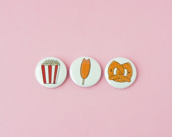 Carnival Food Cats • Set of 3 one inch pinback buttons