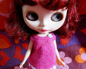 Odds & Ends SALE - Blythe:  Pink smock dress with white hearts