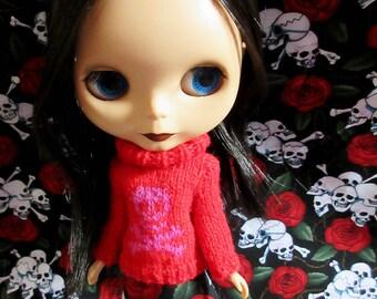 Handmade Blythe sweater with Pink Skull