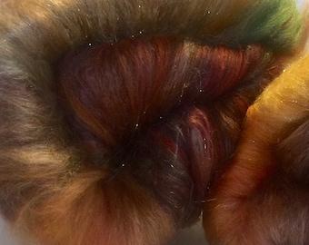 TEQUILA SUNRISE - merino tencel silk luxury batt 4ozs