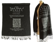 Hamlet Book Scarf. Shakespeare Print Scarf, 1604 Title Page Book Print. Literary gift, theatre gift. Black linen weave pashmina + more.