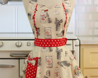 Retro Apron Baking Theme on Cream MAGGIE