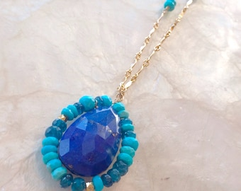 Sea and Sky Necklace - Lapis, Turquoise, Apatite