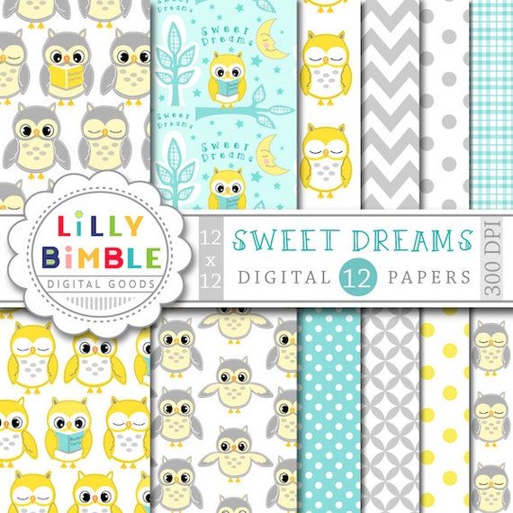 40 Off Yellow And Gray Owl Digital Papers Nursery Owls In Neutral
