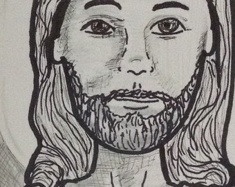 Jesus original drawing aceo