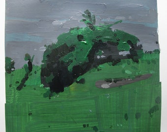 Tumble, Original Summer Landscape Collage Painting on Paper, Stooshinoff