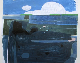 Lost Lake, Swimmer, Original Summer Abstract Landscape Collage Painting on Paper, Stooshinoff