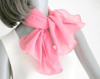 Silk Chiffon Hand Dyed and Scalloped One of a Kind by Jossiani, Made to Order with your Colors, Bridesmaid gifts.