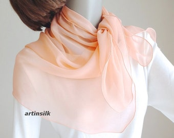 Peach Apricot Small Sheer Neck Scarf, Small Shoulder Coverup Chiffon Wrap, Girl Pony Tail Scarf, One of a Kind, Artinsilk, ready to ship